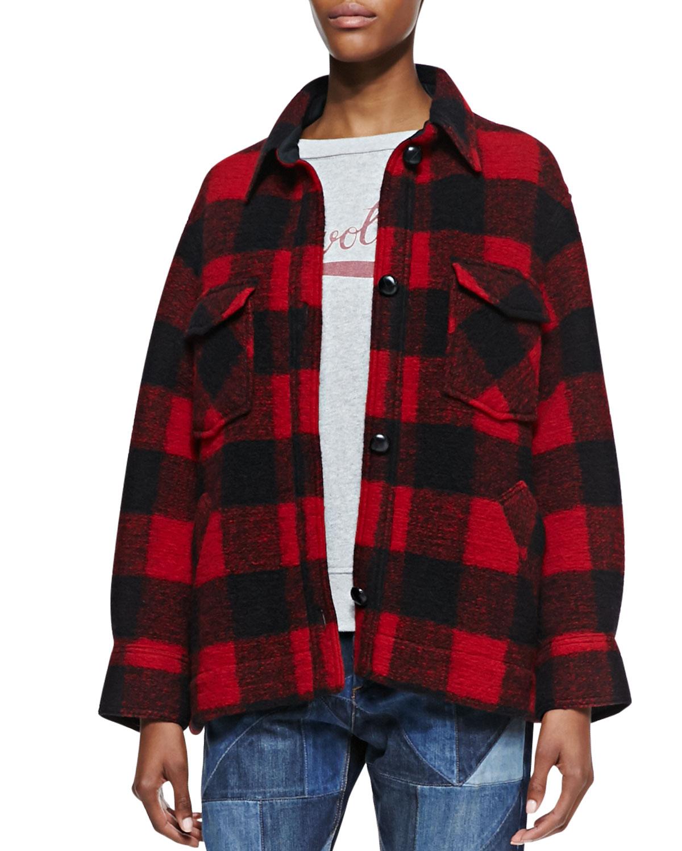 Isabel Marant Etoile Gaston Buffalo Plaid Jacket