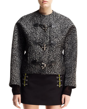 Astrakhan-Jacquard Toggle Jacket