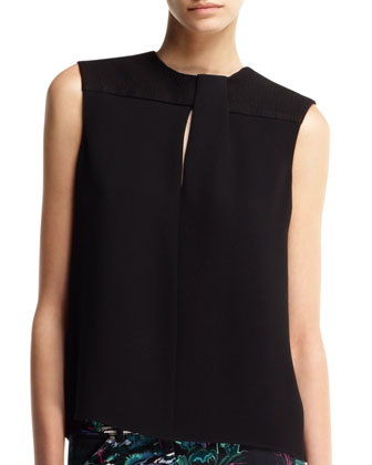 Sleeveless Fold-Neck Top