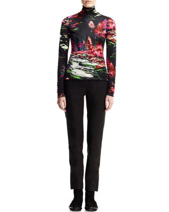 Printed Landscape Turtleneck Sweater