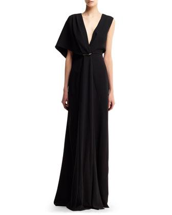 Asymmetric-Sleeve Drape Gown