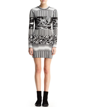 Long-Sleeve Mixed-Print Dress
