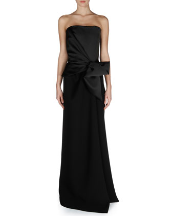 Strapless Bow-Waist Combo Gown