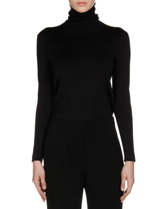 Long-Sleeve Silk Turtleneck Sweater, Black