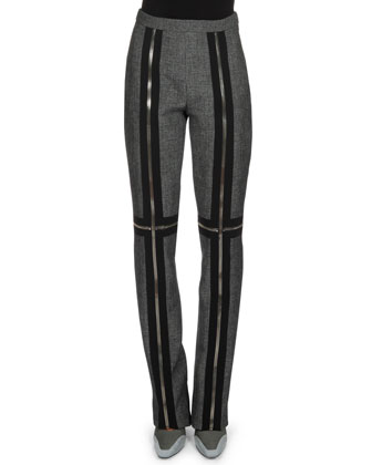 Slim Zipper-Trim Pants, Dark Silver