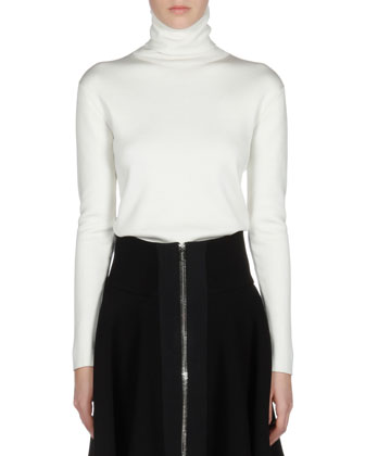 Long-Sleeve Silk Turtleneck Sweater, White