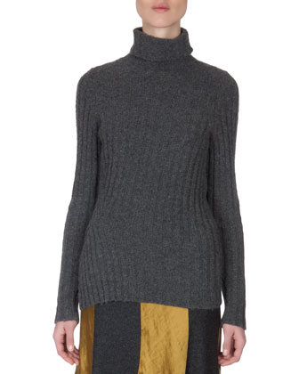 Ribbed Split-Hem Turtleneck
