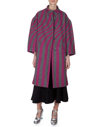 Striped Lantern-Sleeve Coat