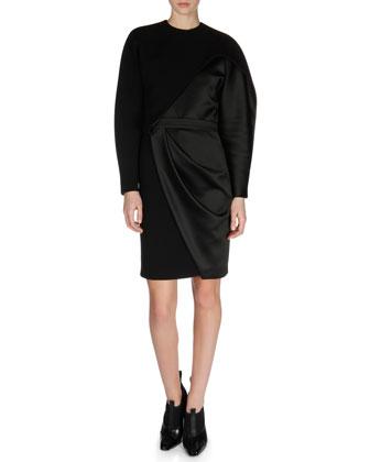 Asymmetric Wrap-Detail Combo Dress
