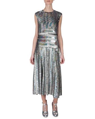 Geometric Sequined Drop-Waist Dress