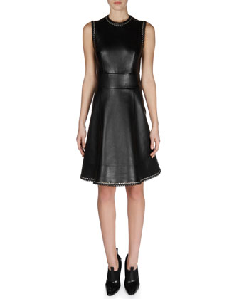 Leather Laced A-Line Dress
