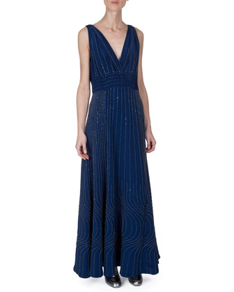 Wavy-Embroidered Sleeveless Gown