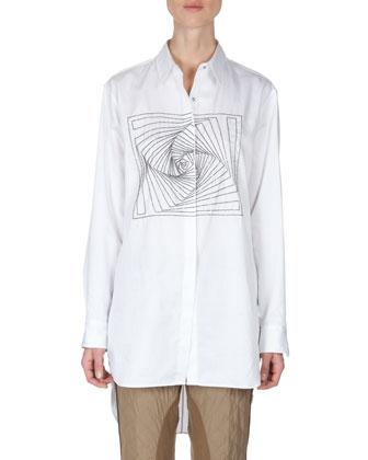 Spiral Men's-Style Button-Up Shirt