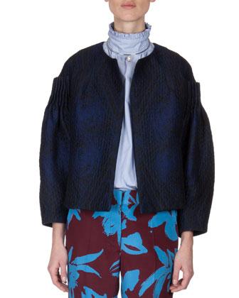 Collarless Pleat-Shoulder Jacket