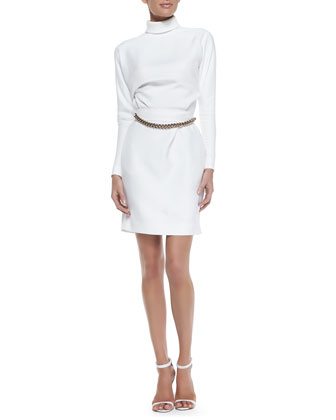 Micro-Twill High-Neck Long-Sleeve Dress