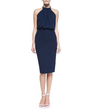 Sunray Open-Back Halter Dress