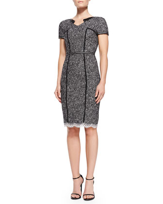 Short-Sleeve Tweed Sheath Dress