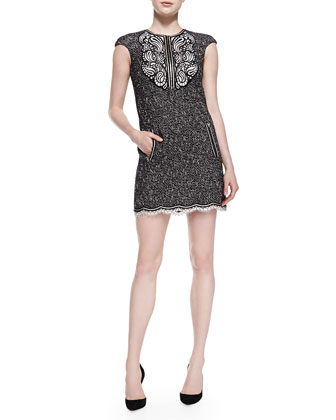 Cap-Sleeve Tweed Dress with Paisley Detail