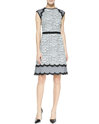 Printed Lace-Trim Cap-Sleeve Dress