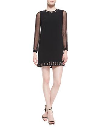 Long-Sleeve Grommet Dress, Black