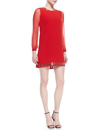 Long-Sleeve Grommet Dress, Red