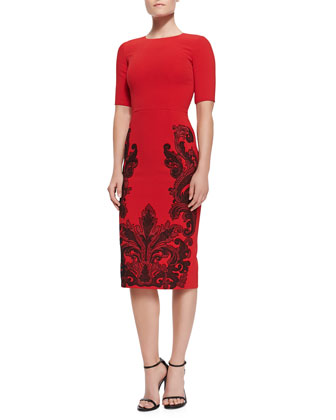 Embroidered-Skirt Sheath Dress, Red