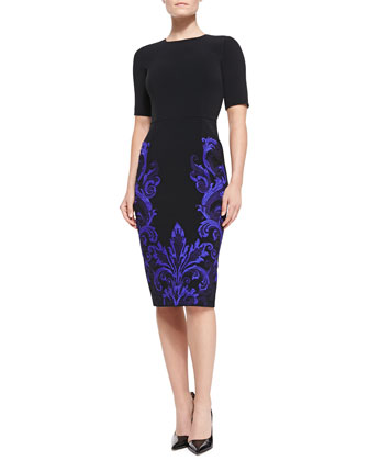 Embroidered-Skirt Sheath Dress, Black