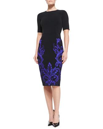 Embroidered-Skirt Sheath Dress, Black