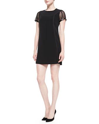 Mesh-Sleeve Crepe Dress