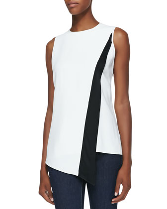 Sleeveless Diagonal-Stripe Top, Black/White