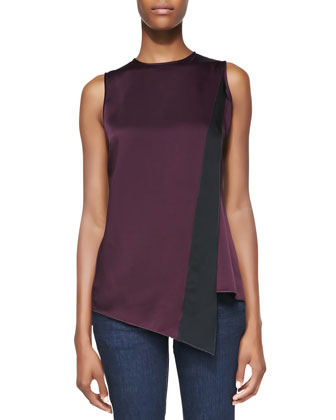 Sleeveless Diagonal-Stripe Top, Purple/Black
