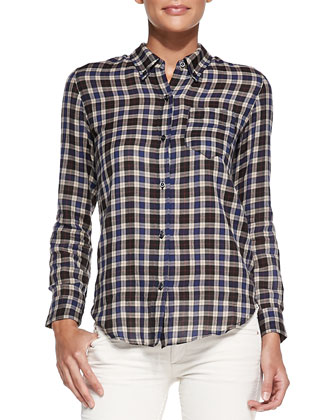 Ipa Plaid Buttoned Top