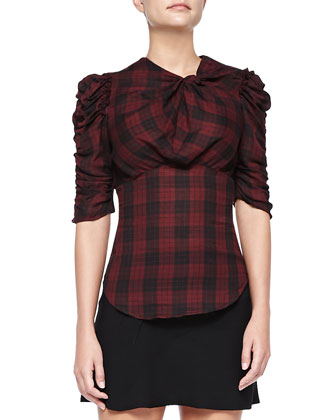 Ilma Ruched Plaid Top