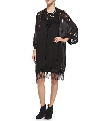 Enery Cutout Fringe-Trimmed Dress, Black