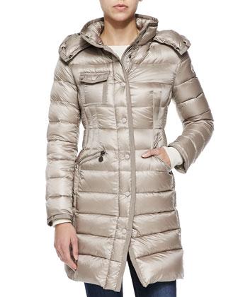 Hooded Mid-Length Puffer Coat, Sand