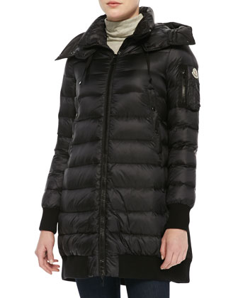 Drawstring-Back Puffer Jacket