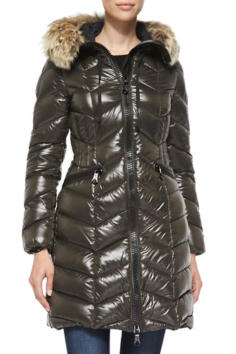Fur-Lined Hooded Chevron-Quilted Puffer Jacket, Olive