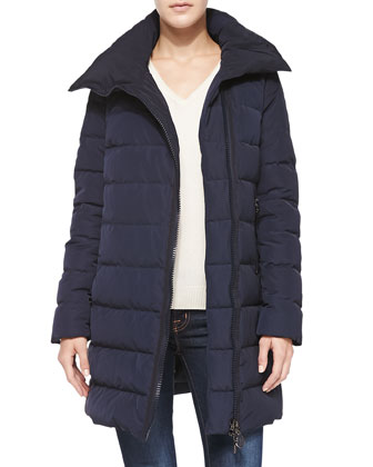 Asymmetric-Zip Puffer Coat
