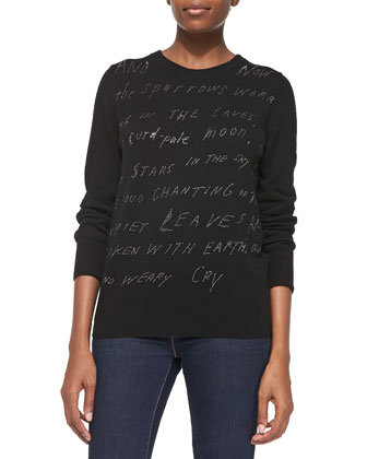 Knit Sweater with Crystal Writing