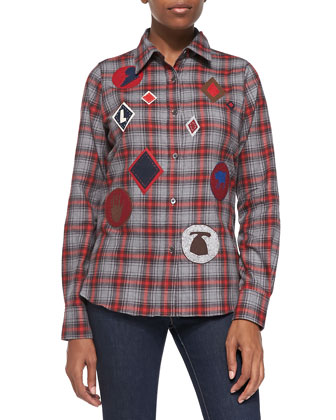 Plaid Flannel Shirt with Patches