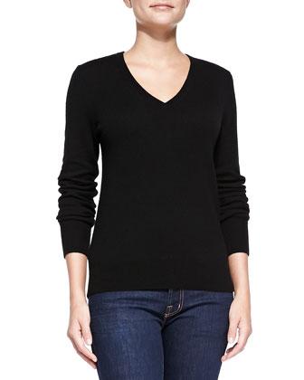 Cashmere V-Neck Cecile Sweater, Black
