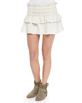 Crista Smocked Ruffle-Tiered Skirt, White