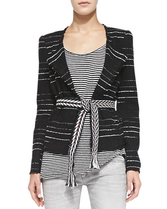 Glenn Striped Tweed Jacket, Black
