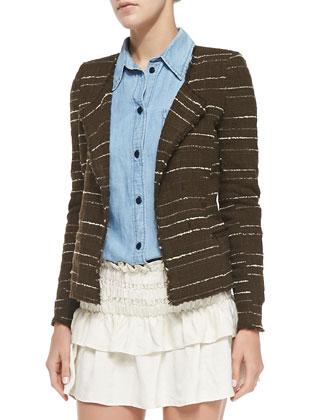 Glenn Striped Tweed Jacket, Bronze