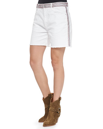 Agnes Zigzag-Embellished Fringe Shorts, White