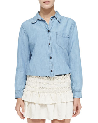 Sade Linen-Blend Chambray Shirt, Blue