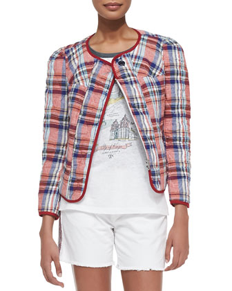 Teddy Diamond-Quilted Plaid Jacket, Red