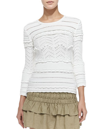 Simon Open Zigzag Ruffled Knit Top, White
