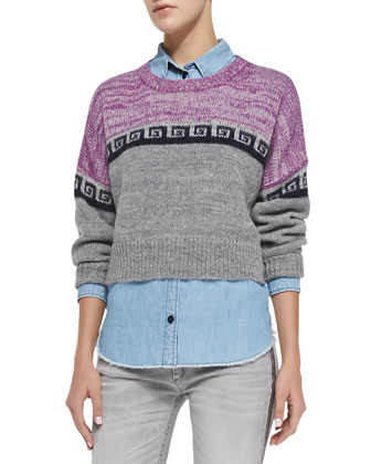 Reply Greek Key Colorblock Crop Sweater, Gray