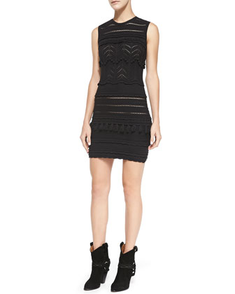Shelly Zigzag Open Knit Tiered Sheath Dress, Black